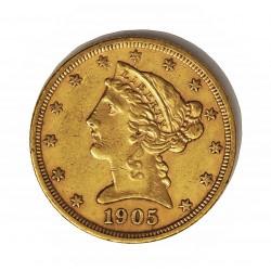 Usa 5 Dolar. 1905. Filadelfia. MBC-/MBC. (Lev.marquitas). (Tipo Liberty). AU. 8,36gr. Ø22mm. KM. 101