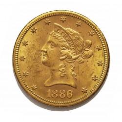 Usa 10 Dolar. 1886. S-(St.Francisco). EBC-. (Marquaitas). (Tipo Liberty). AU. 16,718gr. Ø26mm. KM. 102