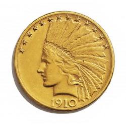 Usa 10 Dolar. 1910. D-(Denver). MBC+. (Lev.marquitas. Insig.gpcto.). (Tipo Indio). AU. 16,718gr. Ø27mm. KM. 130