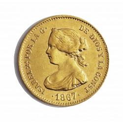 España 4 Escudos. 1867. Madrid. EBC. 3,35gr. AU. Ley:0,900. CT. 109. Ø18mm