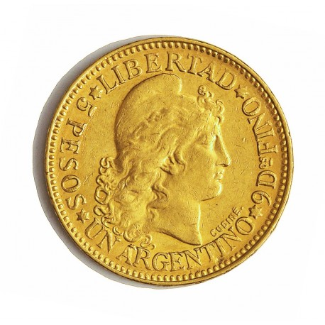 Argentina 5 Pesos. 1887. MBC+. (Marquitas). 8,065gr. AU. Ley:0,900. KM. 31. Ø22mm
