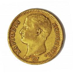 Francia 20 Francos. 1807. A-(Paris). MBC/MBC+. 6,452gr. AU. Ley:0,900. KM. A687.1. Ø21mm