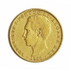 Portugal 2000 Reis. 1866. MBC-/MBC. (Lev.marquitas). 3,547gr. AU. Ley:0,917. FERR. 108 - GC. 511. Ø20mm