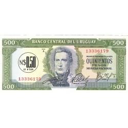 Uruguay 500. 1. 1975. (s/f). SC. (0,50 Nuevos Pesos). PIK. 54