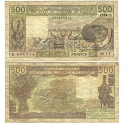 Africa Occid. Francesa 500 Francos. 1984. 1984. BC+/MBC-. (FRENCH WEST AFRICA). (Bastante usado, pero entero). PIK. 105 A-g