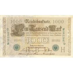 Alemania Imperio-(1871/1918) 1000 Marcos. 1910. MBC. (Sell.y nº en verde). (Dobleces). PIK. 45 b