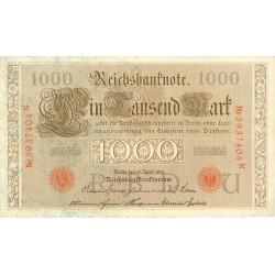Alemania Imperio-(1871/1918) 1000 Marcos. 1910. MBC-/MBC. (Sell.y nº en naranja). (Doblece.Lev.marquitas). PIK. 45 b