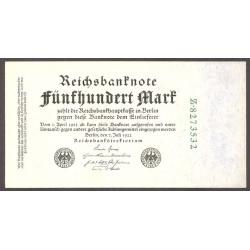 Alemania Weimar-(1919/33) 500 Marcos. 1922. SC. PIK. 74 b