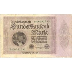 Alemania Weimar-(1919/33) 100000 Marcos. 1923. 01 Febrero. BC. (Rotuiras margen bandeleta). PIK. 83 a
