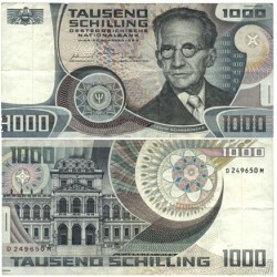 Austria-(y Estados) 1000 Shilling. 1983. 03-01. MBC/MBC+. (Serie D-M). Poco usado.Dobleces. PIK. 152