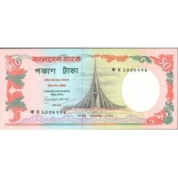 Bangladesh 50 Taka. 1984. (s/f). SC. (Agujeritos de grapa, propios de estos billetes). PIK. 28 a