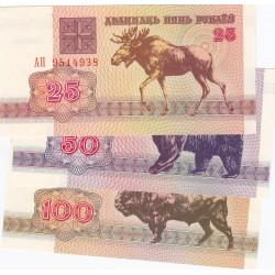 Belarus LOTE. 1992. SC. (TRES BILLETES: 25, 50 y 100 Rublos). PIK. 6, 7 y 8