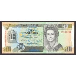 Belice 10 Dolar. 1990. SC. ESCASO/A. PIK. 54 a