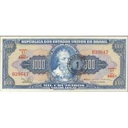 Brasil 1000 Cruzeiro. 1967. (s/f). SC. (Validado para 1 Cruceiro Nuevo). PIK. 187 b
