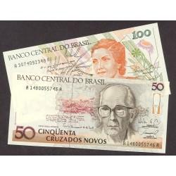 Brasil Serie. 1989. SC. (50+100 Cruzados). PIK. 219a / 220a