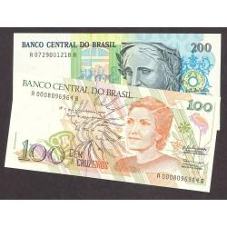Brasil Serie. 1990. SC. (100+200 Cruzados). PIK. 228/229
