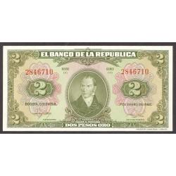 Colombia 2 Pesos. 1950. SC. PIK. 390 c