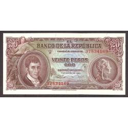 Colombia 20 Pesos. 1960. SC. PIK. 401 b