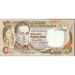Colombia 2000 Pesos. 1986. 12-12. SC. PIK. 433