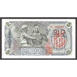 Corea del Norte 5 Won. 1947. SC. PIK. 10 b