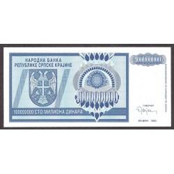 Croacia 100000000 Dinara. 1993. SC. PIK. R-15 a