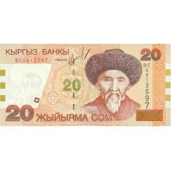 Kyrgyzstan 20 Som. 2002. SC. PIK. 19