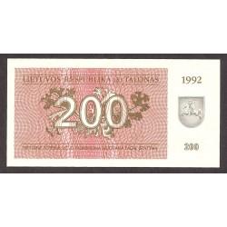 Lituania 200 Talona. 1992. SC. PIK. 43