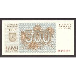 Lituania 500 Talona. 1993. SC. PIK. 46