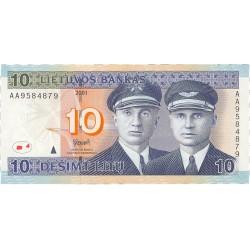 Lituania 10 Litu. 2001. SC. PIK. 65