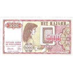 Macedonia 5000 Dinar. 1992. SC. PIK. 7 a