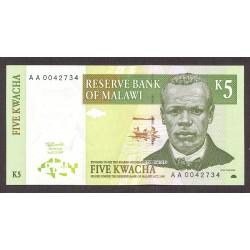 Malawi 5 Kwacha. 1997. SC. PIK. 36