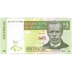 Malawi 5 Kwacha. 1997. 01-07. SC. PIK. 36