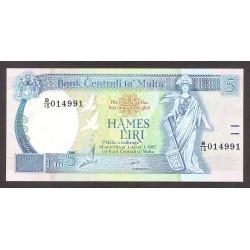 Malta 5 Liri. 1967. SC. ESCASO/A. PIK. 46 a