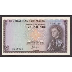 Malta 5 Libra/Pound. 1967. SC. RARO/A. PIK. 30 a