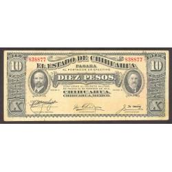 Mejico CHIHUAHUA. . 10 Pesos. 1914. MBC. (Gob.Revolucionario). (Dobleces). PIK. S-533