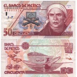 Mejico 50 Pesos. 1992. 10-12. EBC-. (Serie N-B). (Bastante nuevo con marcas de doblez). PIK. 101