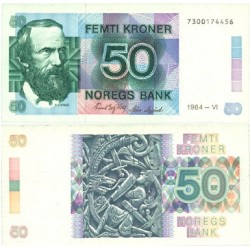 Noruega 50 Kroner. 1984. Junio. SC. (Vinje). PIK. 42 a