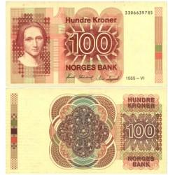 Noruega 100 Kroner. 1985. Junio. SC. (C.Collett). PIK. 43 c