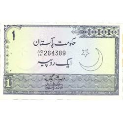 Pakistan 1 Rupia. 1975. (s/f). SC. (Rauf Shaikh)-(Minarete). (Agujeritos de grapa normal en esta emision). PIK. 24 A