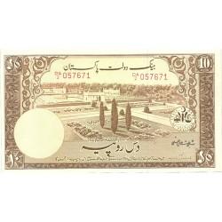 Pakistan 10 Rupia. 1953. (s/f). SC. (Agujeritos de grapa normal para la emision). PIK. 13