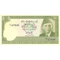 Pakistan 10 Rupia. 1981. (s/f). SC. (Agujeritos de grapa). PIK. 34