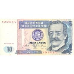 Peru 10 Intis. 1987. 26-06. EBC-/EBC. PIK. 129