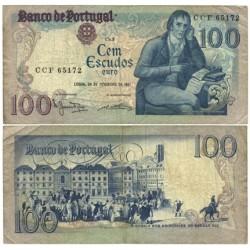 Portugal 100 Escudos. 1981. 24 Febrero. MBC-. (Serie CCF-Manuel Mª Barbosa). PIK. 178 b