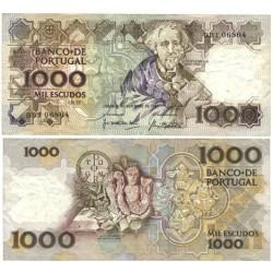 Portugal 1000 Escudos. 1987. 8 Septiembre. MBC+. (Serie BBT-Teofilo Barga). Marcas de doblez. PIK. 181 c