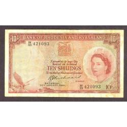 Rhodesia y Nyasaland 10 Shilling. 1961. MBC-. MUY RARO/A. PIK. 20 b