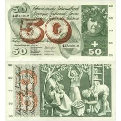 Suiza 50 Francos. 1973. 07 Marzo. SC-. (Serie 43B). Nuevo con lev.ondulacion. PIK. 176 Am