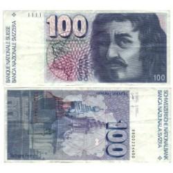 Suiza 100 Francos. 1988. MBC+. (Q-Borronini). dobleces. PIK. 57 i