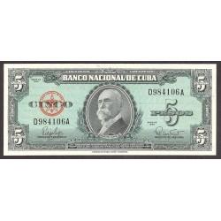 Cuba 5 Pesos. 1960. SC. PIK. 92 a