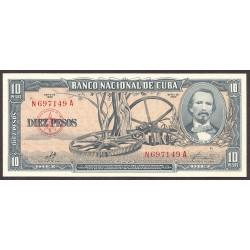 Cuba 10 Pesos. 1960. SC. PIK. 88 c
