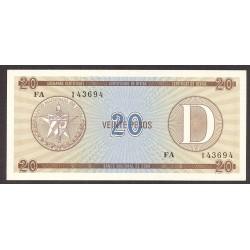 Cuba 20 Pesos. 1985. SC. (Convertibles)-(Serie D). PIK. Fx36